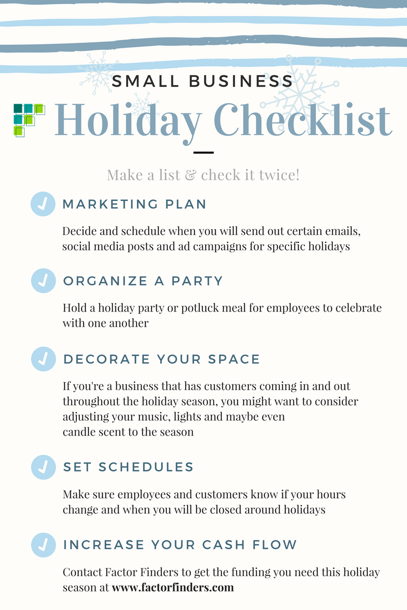 checklist for small businesses to follow during the holiday season, inforgraphic